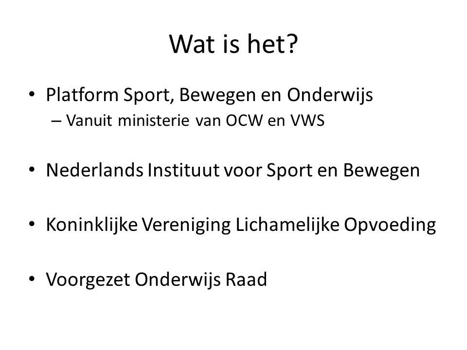 Wat is het? Platform Sport, Bewegen en Onderwijs – Vanuit ministerie van OCW en VWS Nederlands Instituut voor Sport en Bewegen Koninklijke Vereniging