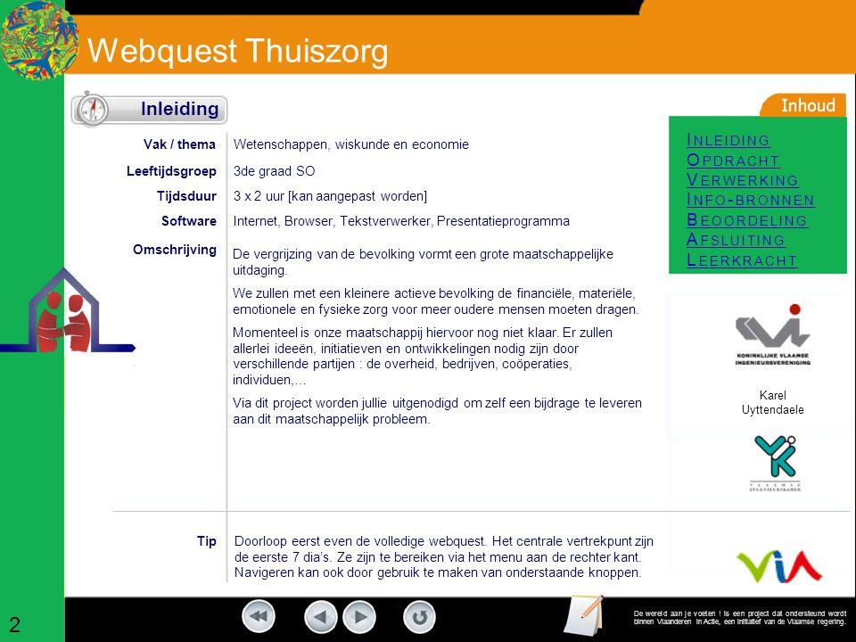 Webquest Thuiszorg I NLEIDING O PDRACHT V ERWERKING I NFO - BRONNEN B EOORDELING A FSLUITING L EERKRACHT De wereld aan je voeten .