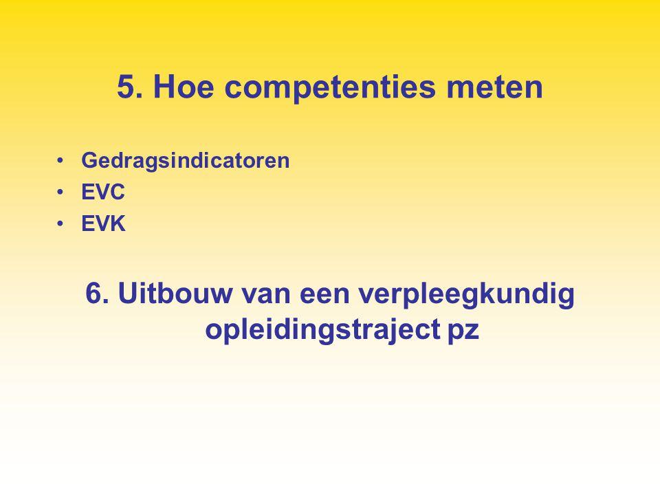 5. Hoe competenties meten Gedragsindicatoren EVC EVK 6. Uitbouw van een verpleegkundig opleidingstraject pz