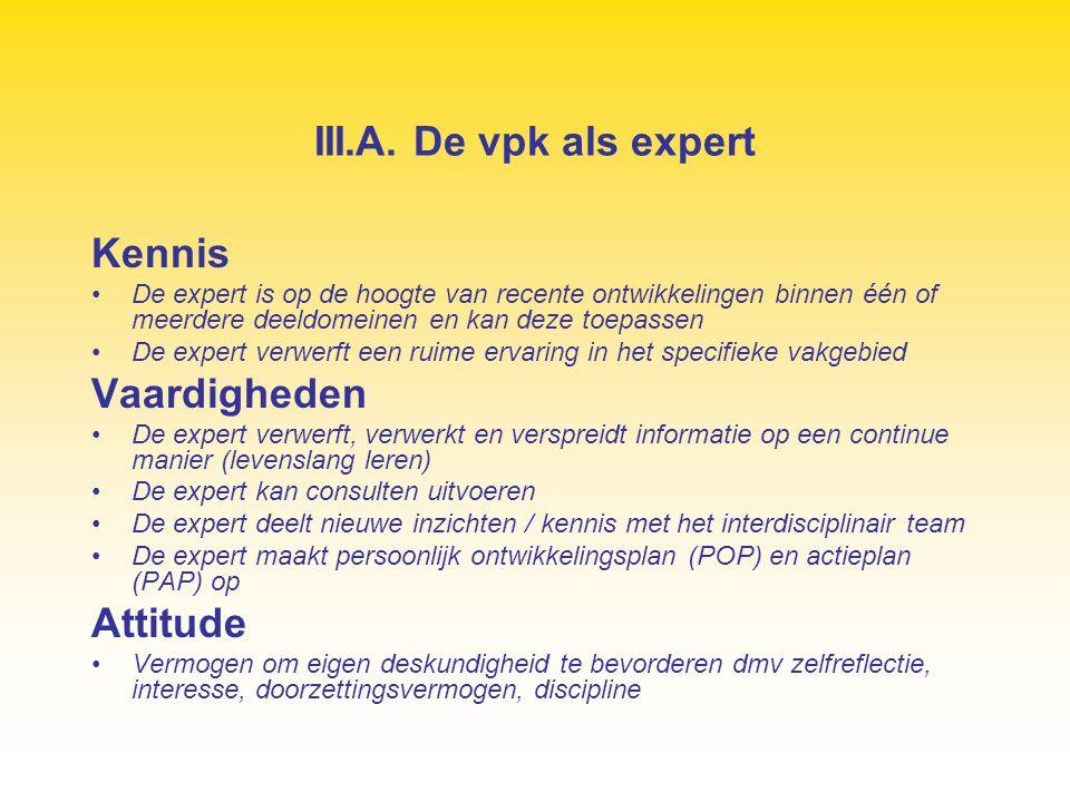III.A. De vpk als expert Kennis De expert is op de hoogte van recente ontwikkelingen binnen één of meerdere deeldomeinen en kan deze toepassen De expe