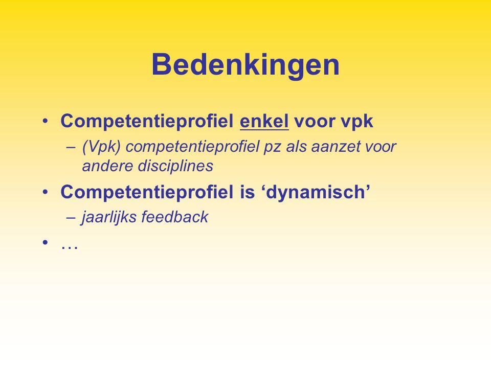 Bedenkingen Competentieprofiel enkel voor vpk –(Vpk) competentieprofiel pz als aanzet voor andere disciplines Competentieprofiel is 'dynamisch' –jaarl