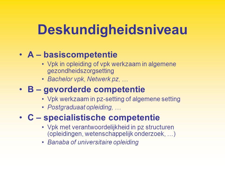 Deskundigheidsniveau A – basiscompetentie Vpk in opleiding of vpk werkzaam in algemene gezondheidszorgsetting Bachelor vpk, Netwerk pz, … B – gevorder