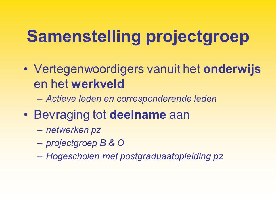 Samenstelling projectgroep Vertegenwoordigers vanuit het onderwijs en het werkveld –Actieve leden en corresponderende leden Bevraging tot deelname aan