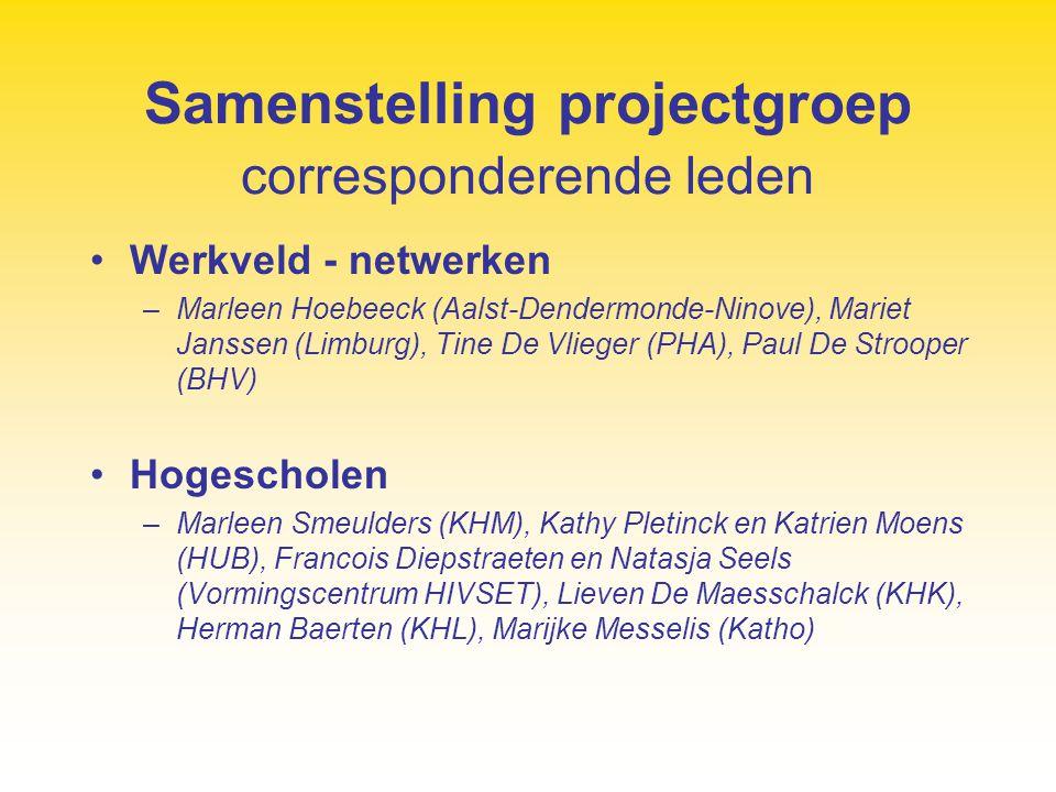 Samenstelling projectgroep corresponderende leden Werkveld - netwerken –Marleen Hoebeeck (Aalst-Dendermonde-Ninove), Mariet Janssen (Limburg), Tine De