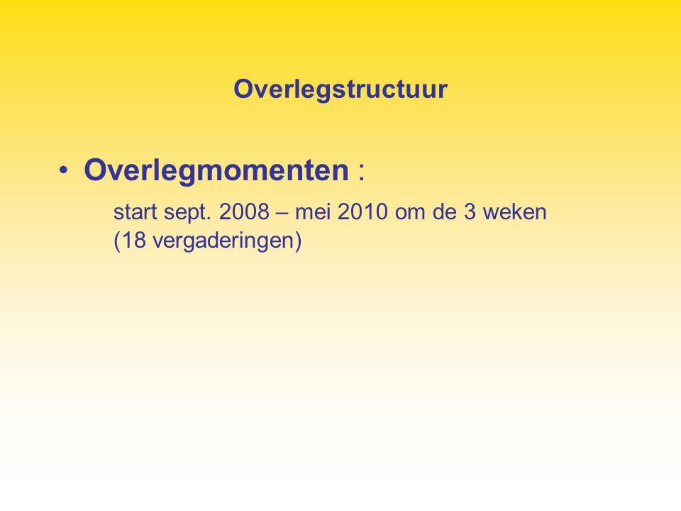 Overlegstructuur Overlegmomenten : start sept. 2008 – mei 2010 om de 3 weken (18 vergaderingen)