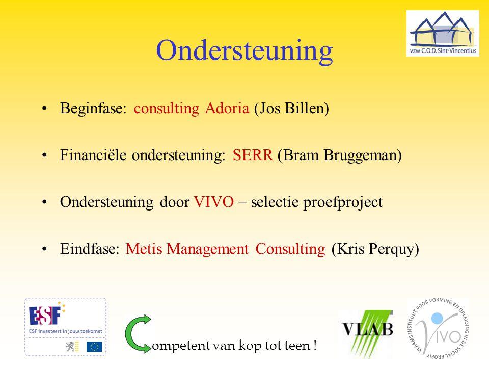 Ondersteuning Beginfase: consulting Adoria (Jos Billen) Financiële ondersteuning: SERR (Bram Bruggeman) Ondersteuning door VIVO – selectie proefprojec