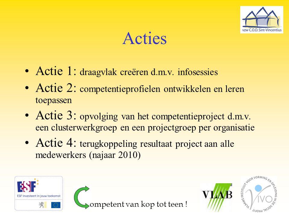 Acties Actie 1: draagvlak creëren d.m.v. infosessies Actie 2: competentieprofielen ontwikkelen en leren toepassen Actie 3: opvolging van het competent