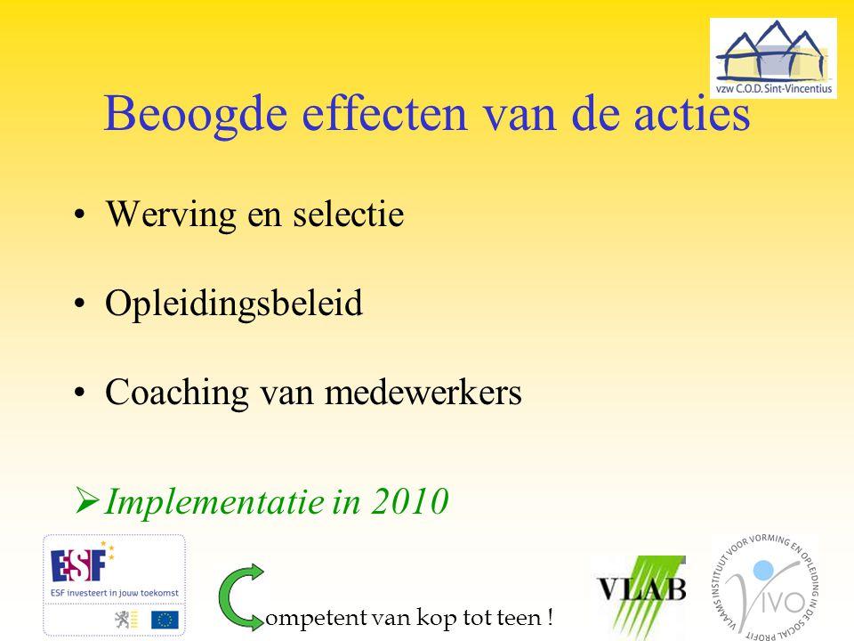 Beoogde effecten van de acties Werving en selectie Opleidingsbeleid Coaching van medewerkers  Implementatie in 2010 ompetent van kop tot teen !