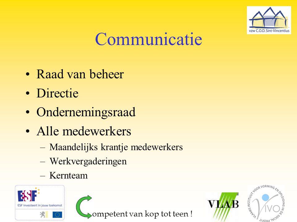Communicatie Raad van beheer Directie Ondernemingsraad Alle medewerkers –Maandelijks krantje medewerkers –Werkvergaderingen –Kernteam ompetent van kop