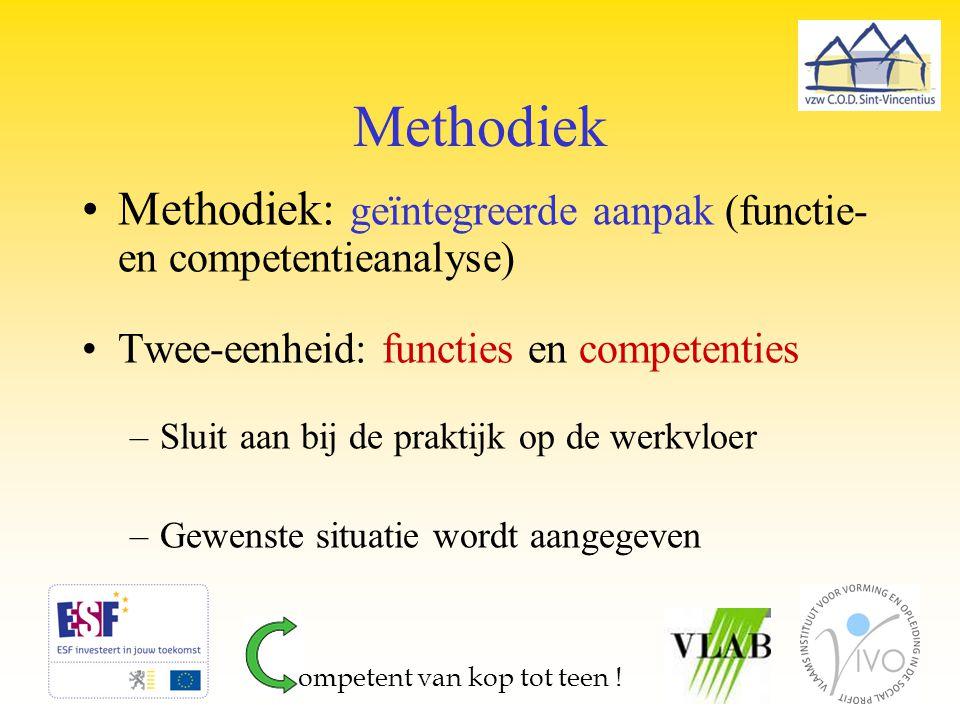 Methodiek Methodiek: geïntegreerde aanpak (functie- en competentieanalyse) Twee-eenheid: functies en competenties –Sluit aan bij de praktijk op de wer