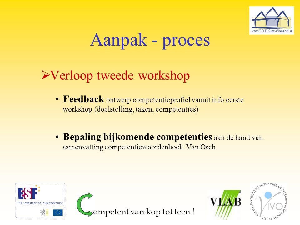Aanpak - proces  Verloop tweede workshop Feedback ontwerp competentieprofiel vanuit info eerste workshop (doelstelling, taken, competenties) Bepaling