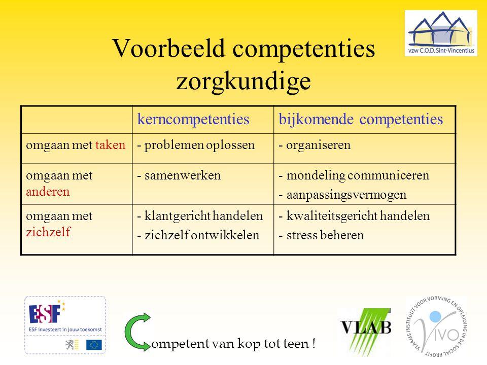 Voorbeeld competenties zorgkundige kerncompetentiesbijkomende competenties omgaan met taken- problemen oplossen- organiseren omgaan met anderen - same