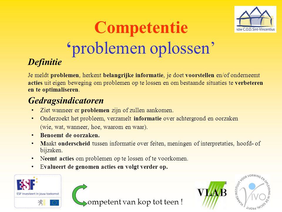 Competentie 'problemen oplossen' Definitie Je meldt problemen, herkent belangrijke informatie, je doet voorstellen en/of onderneemt acties uit eigen b