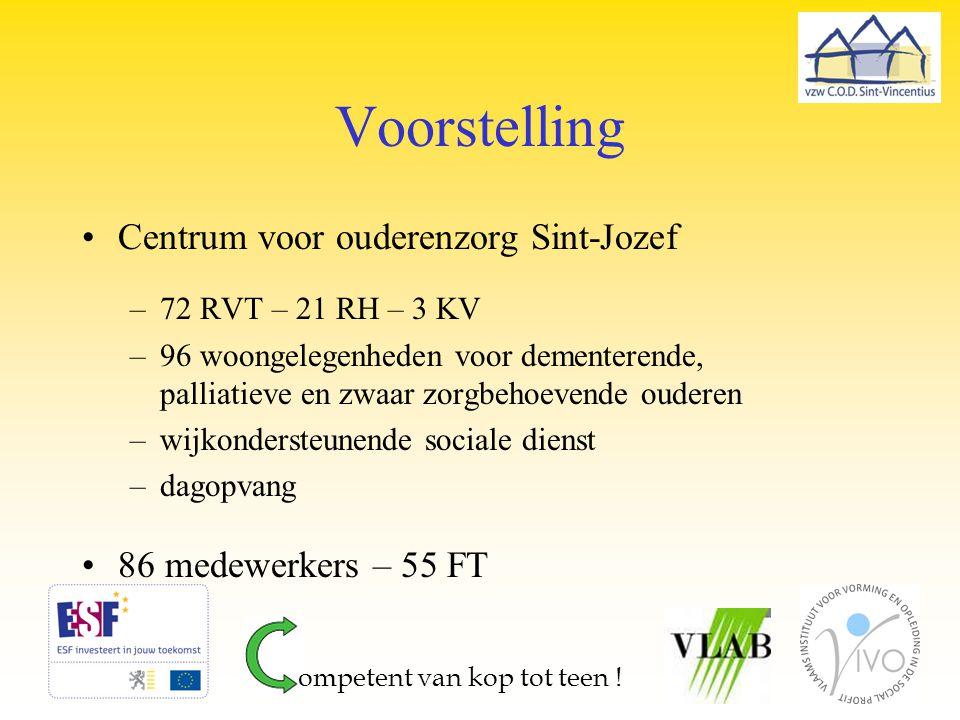 Voorstelling Centrum voor ouderenzorg Sint-Jozef –72 RVT – 21 RH – 3 KV –96 woongelegenheden voor dementerende, palliatieve en zwaar zorgbehoevende ou
