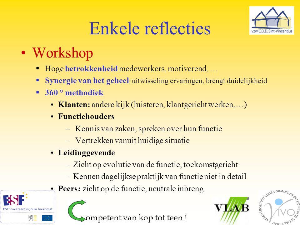 Enkele reflecties Workshop  Hoge betrokkenheid medewerkers, motiverend, …  Synergie van het geheel : uitwisseling ervaringen, brengt duidelijkheid 