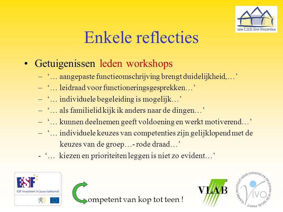 Enkele reflecties Getuigenissen leden workshops –'… aangepaste functieomschrijving brengt duidelijkheid,…' –'… leidraad voor functioneringsgesprekken…