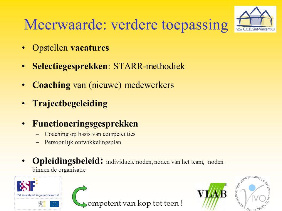 Meerwaarde: verdere toepassing Opstellen vacatures Selectiegesprekken: STARR-methodiek Coaching van (nieuwe) medewerkers Trajectbegeleiding Functioner
