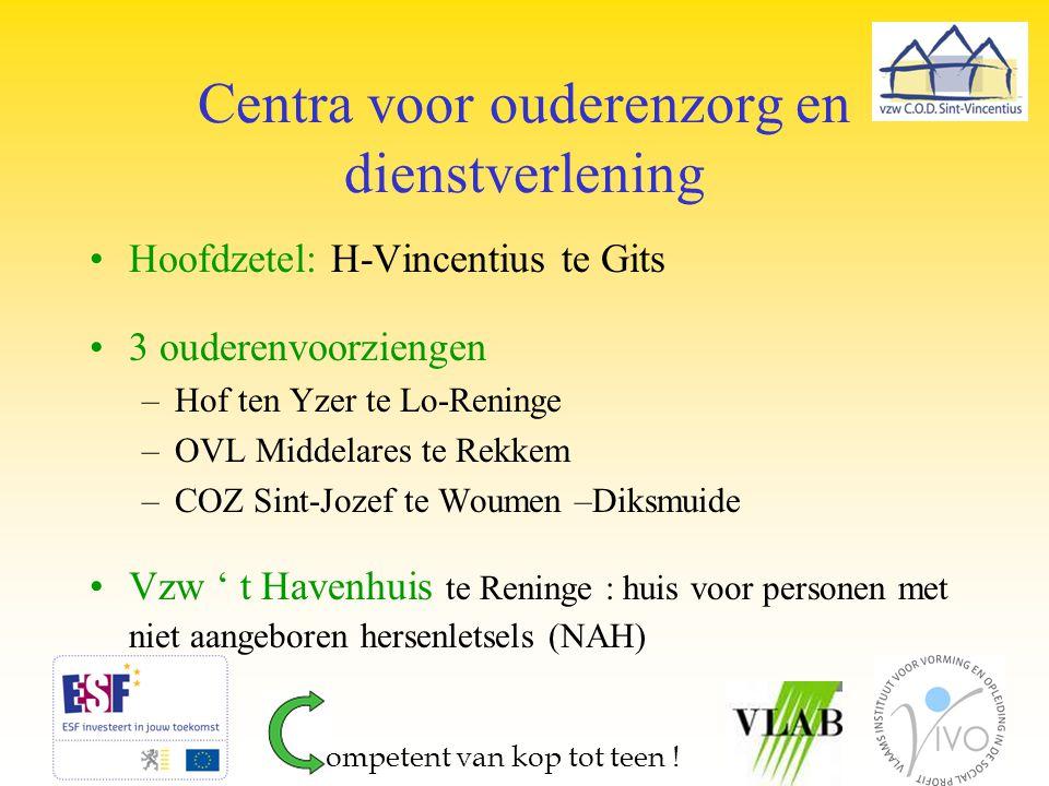 Centra voor ouderenzorg en dienstverlening Hoofdzetel: H-Vincentius te Gits 3 ouderenvoorziengen –Hof ten Yzer te Lo-Reninge –OVL Middelares te Rekkem