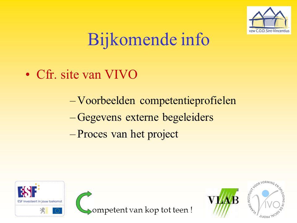 Bijkomende info Cfr. site van VIVO –Voorbeelden competentieprofielen –Gegevens externe begeleiders –Proces van het project ompetent van kop tot teen !