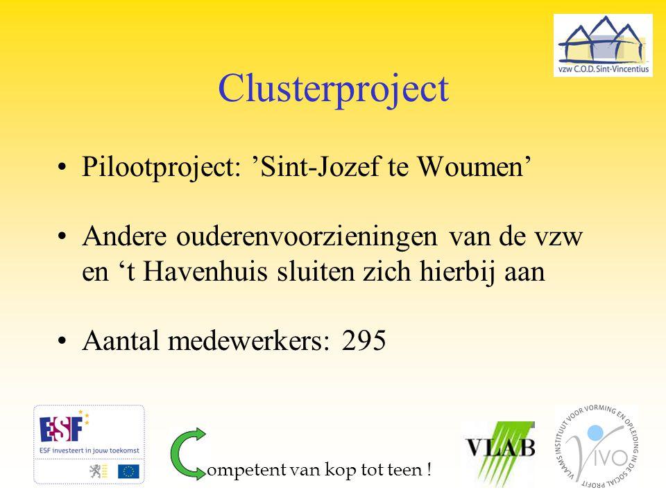 Clusterproject Pilootproject: 'Sint-Jozef te Woumen' Andere ouderenvoorzieningen van de vzw en 't Havenhuis sluiten zich hierbij aan Aantal medewerker