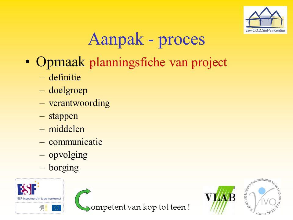 Aanpak - proces Opmaak planningsfiche van project –definitie –doelgroep –verantwoording –stappen –middelen –communicatie –opvolging –borging ompetent