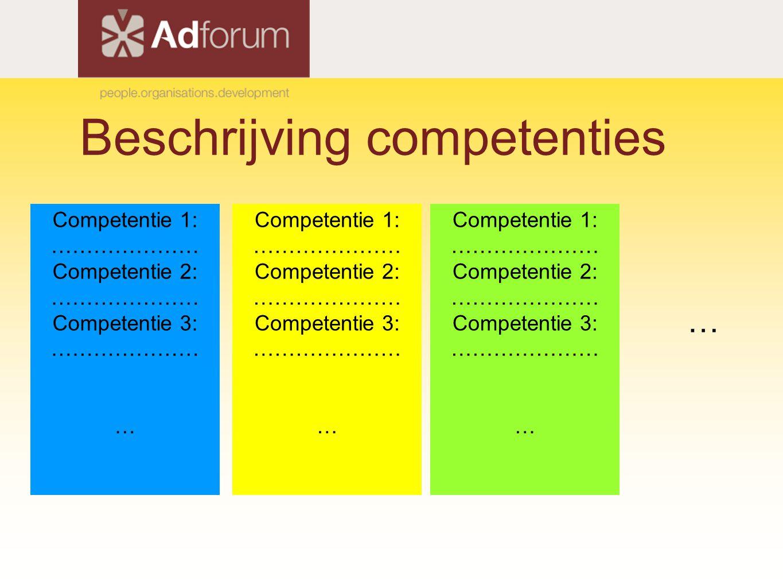 Beschrijving competenties Competentie 1: ………………… Competentie 2: ………………… Competentie 3: ………………… … Competentie 1: ………………… Competentie 2: ………………… Competentie 3: ………………… … Competentie 1: ………………… Competentie 2: ………………… Competentie 3: ………………… … …