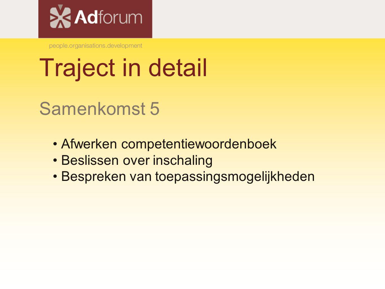 Traject in detail Samenkomst 5 Afwerken competentiewoordenboek Beslissen over inschaling Bespreken van toepassingsmogelijkheden
