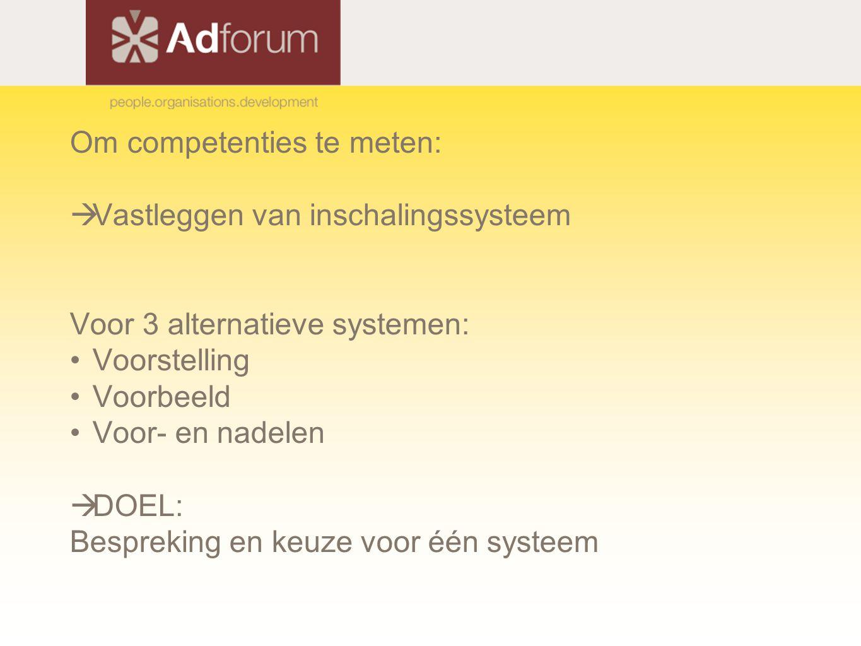 Om competenties te meten:  Vastleggen van inschalingssysteem Voor 3 alternatieve systemen: Voorstelling Voorbeeld Voor- en nadelen  DOEL: Bespreking en keuze voor één systeem