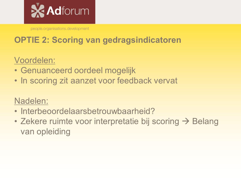 OPTIE 2: Scoring van gedragsindicatoren Voordelen: Genuanceerd oordeel mogelijk In scoring zit aanzet voor feedback vervat Nadelen: Interbeoordelaarsbetrouwbaarheid.