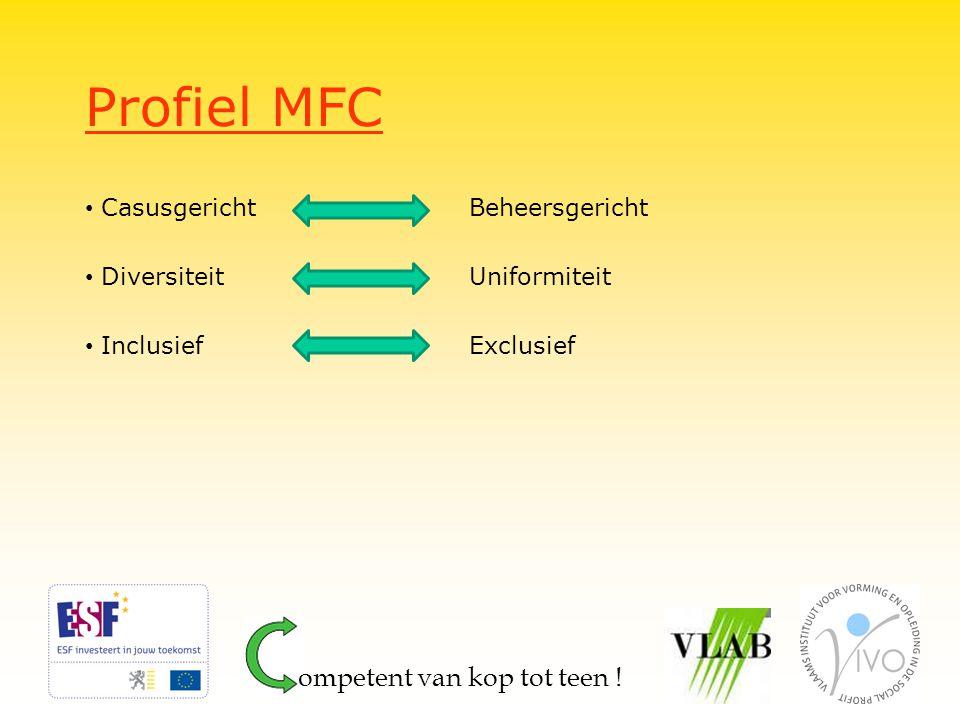 Profiel MFC CasusgerichtBeheersgericht Diversiteit Uniformiteit InclusiefExclusief ompetent van kop tot teen !