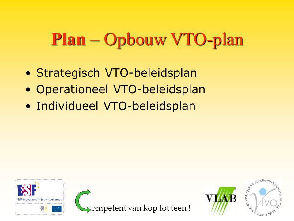 Plan – Opbouw VTO-plan Strategisch VTO-beleidsplan Operationeel VTO-beleidsplan Individueel VTO-beleidsplan ompetent van kop tot teen !