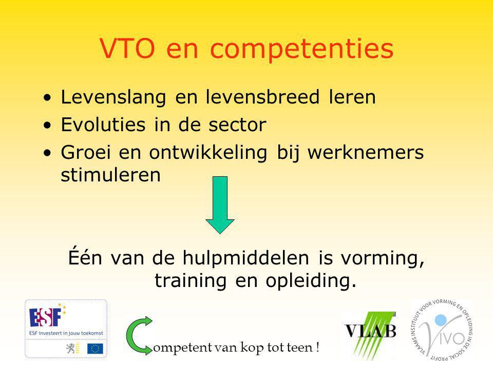 VTO en competenties Levenslang en levensbreed leren Evoluties in de sector Groei en ontwikkeling bij werknemers stimuleren Één van de hulpmiddelen is