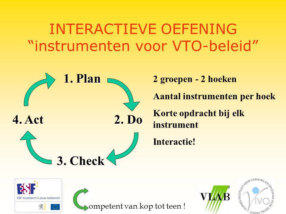 """INTERACTIEVE OEFENING """"instrumenten voor VTO-beleid"""" 1. Plan 1. Plan 4. Act 2. Do 4. Act 2. Do 3. Check 3. Check 2 groepen - 2 hoeken Aantal instrumen"""