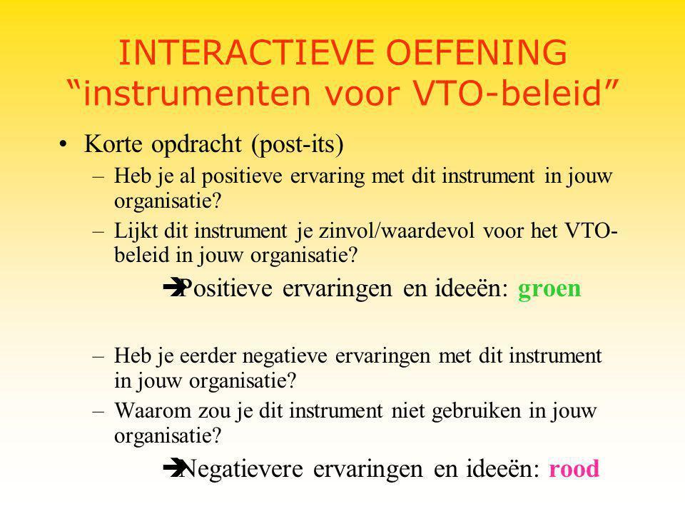 INTERACTIEVE OEFENING instrumenten voor VTO-beleid Korte opdracht (post-its) –Heb je al positieve ervaring met dit instrument in jouw organisatie.