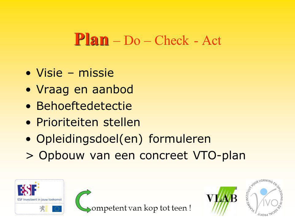 Plan Plan – Do – Check - Act Visie – missie Vraag en aanbod Behoeftedetectie Prioriteiten stellen Opleidingsdoel(en) formuleren > Opbouw van een concreet VTO-plan ompetent van kop tot teen !