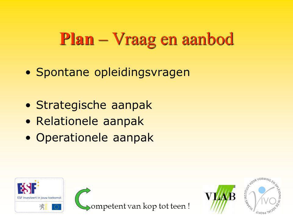Plan – Vraag en aanbod Spontane opleidingsvragen Strategische aanpak Relationele aanpak Operationele aanpak ompetent van kop tot teen !