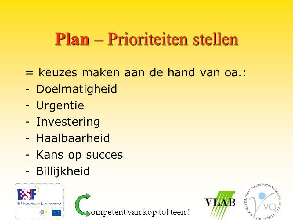 Plan – Prioriteiten stellen = keuzes maken aan de hand van oa.: -Doelmatigheid -Urgentie -Investering -Haalbaarheid -Kans op succes -Billijkheid ompetent van kop tot teen !