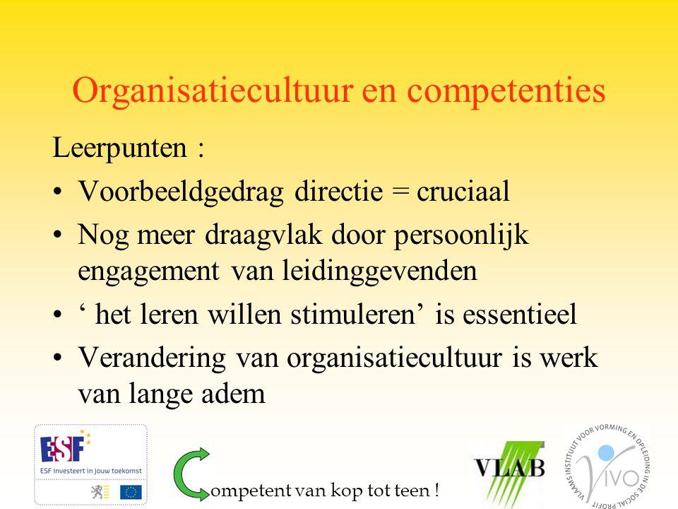 Organisatiecultuur en competenties Leerpunten : Voorbeeldgedrag directie = cruciaal Nog meer draagvlak door persoonlijk engagement van leidinggevenden