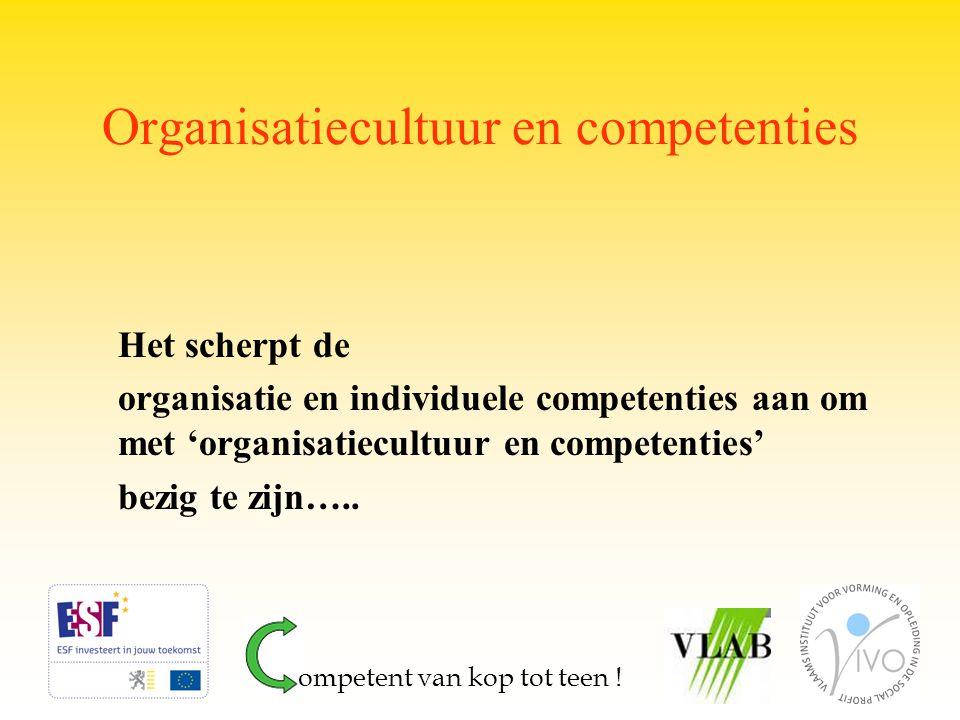 Organisatiecultuur en competenties Het scherpt de organisatie en individuele competenties aan om met 'organisatiecultuur en competenties' bezig te zij