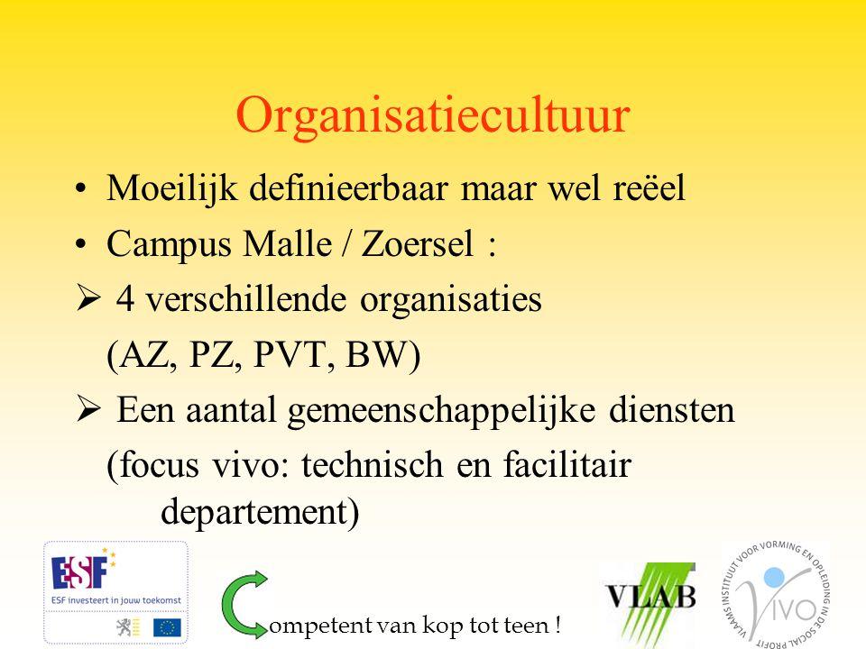 Organisatiecultuur Moeilijk definieerbaar maar wel reëel Campus Malle / Zoersel :  4 verschillende organisaties (AZ, PZ, PVT, BW)  Een aantal gemeen