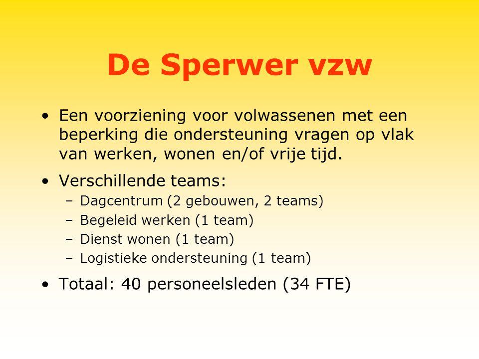De Sperwer vzw Een voorziening voor volwassenen met een beperking die ondersteuning vragen op vlak van werken, wonen en/of vrije tijd.