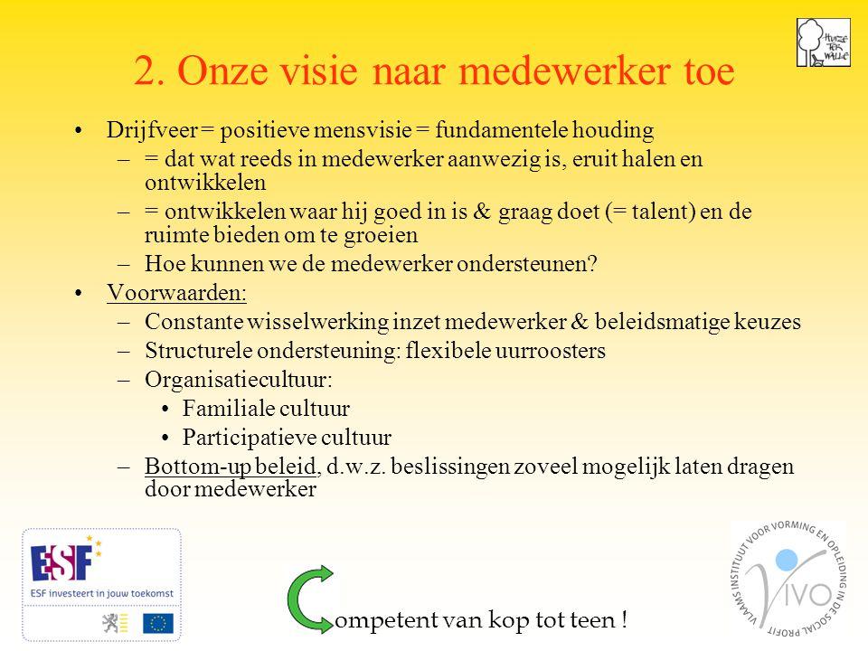 4 2. Onze visie naar medewerker toe Drijfveer = positieve mensvisie = fundamentele houding –= dat wat reeds in medewerker aanwezig is, eruit halen en