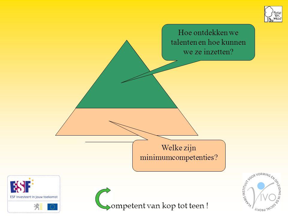 6 Welke zijn minimumcompetenties. Hoe ontdekken we talenten en hoe kunnen we ze inzetten.