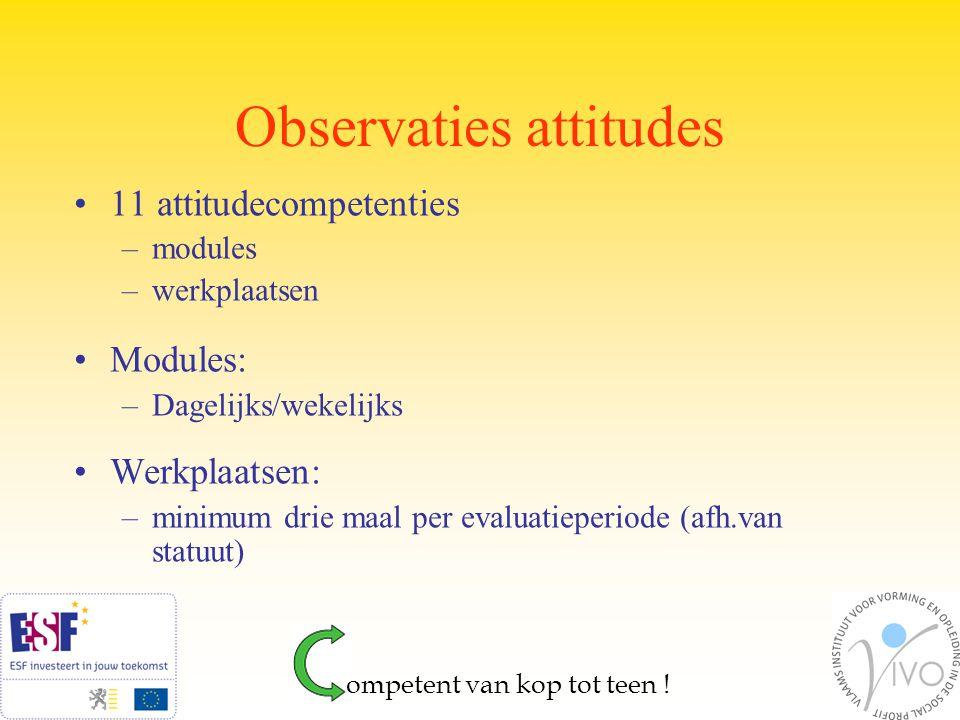 Observaties attitudes 11 attitudecompetenties –modules –werkplaatsen Modules: –Dagelijks/wekelijks Werkplaatsen: –minimum drie maal per evaluatieperiode (afh.van statuut) ompetent van kop tot teen !
