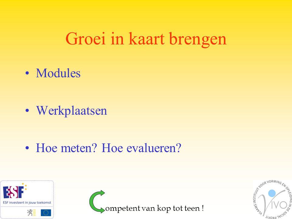 Competenties Opstart in de modules (attitudes) Al gauw ook noodzaak in de werkplaatsen Doorstroom met 'handelplan' ompetent van kop tot teen !