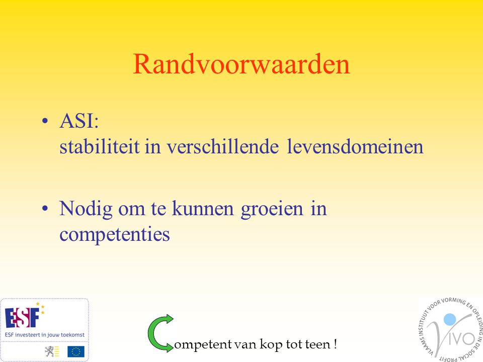 Competentiebeheer in de Sociale Werkplaats De Sleutel Elf basiscompetenties –Modules –Werkplaatsen Taakspecifieke competenties in de werkplaatsen ompetent van kop tot teen !