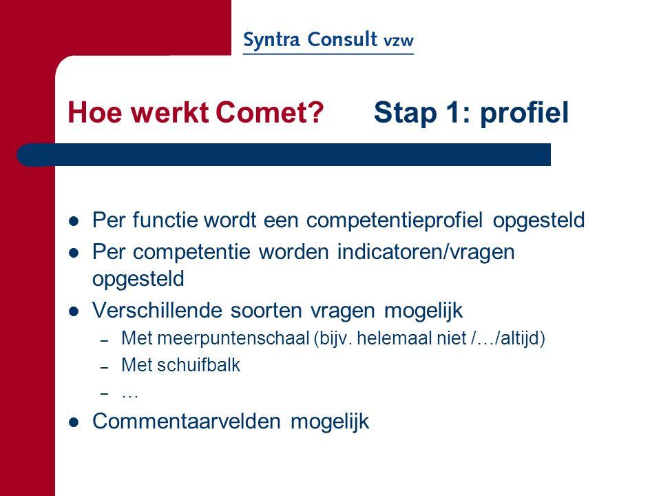 Hoe werkt Comet? Stap 1: profiel Per functie wordt een competentieprofiel opgesteld Per competentie worden indicatoren/vragen opgesteld Verschillende