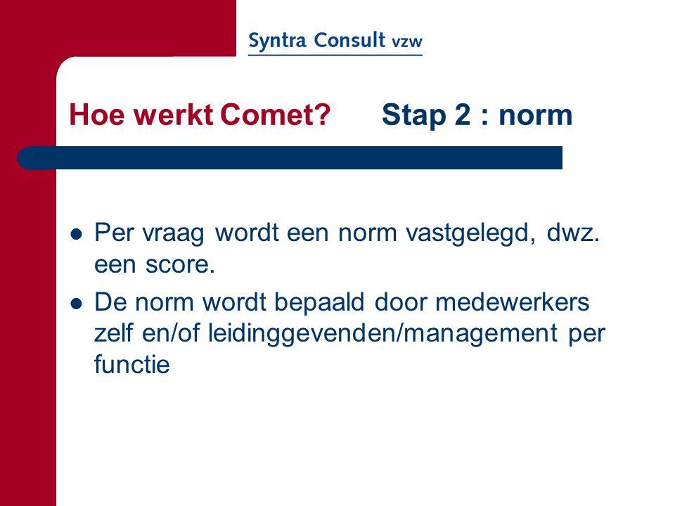 Hoe werkt Comet? Stap 2 : norm Per vraag wordt een norm vastgelegd, dwz. een score. De norm wordt bepaald door medewerkers zelf en/of leidinggevenden/