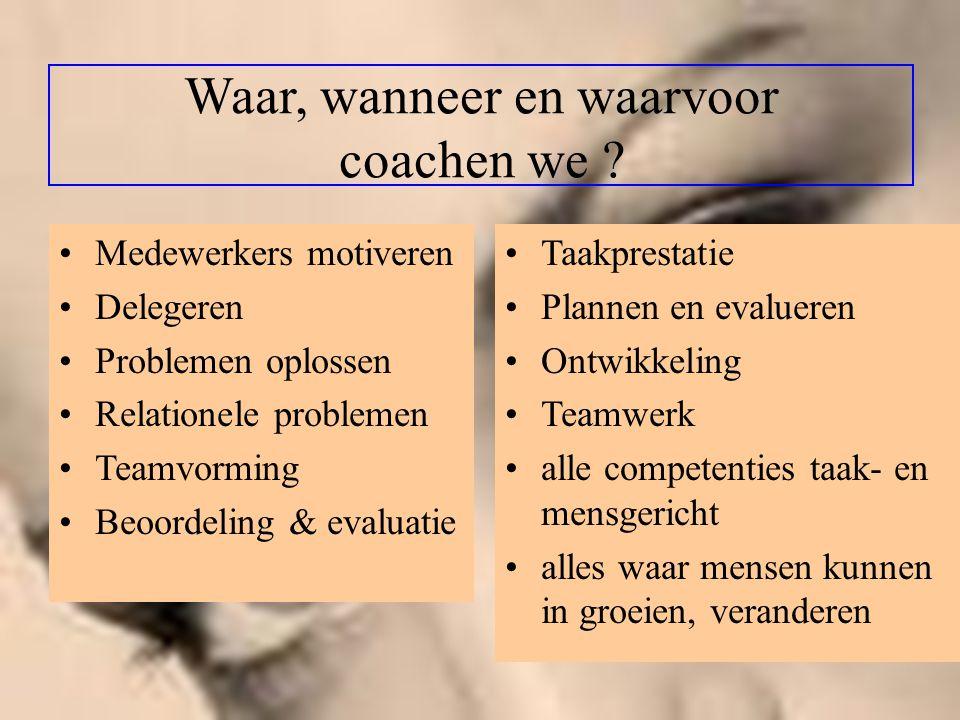 Waar, wanneer en waarvoor coachen we ? Medewerkers motiveren Delegeren Problemen oplossen Relationele problemen Teamvorming Beoordeling & evaluatie Ta