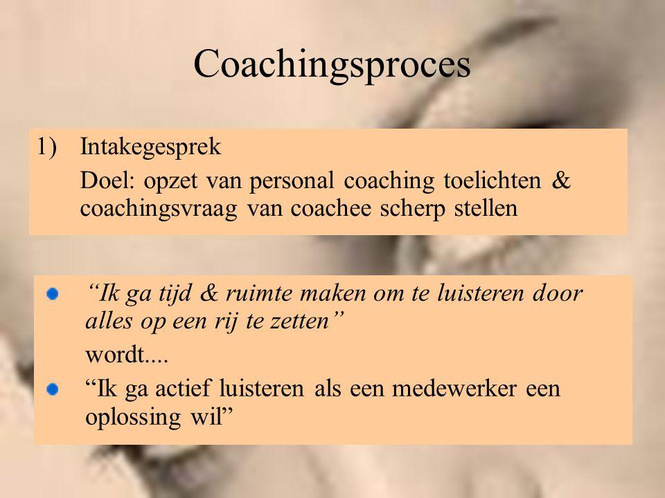 """Coachingsproces 1)Intakegesprek Doel: opzet van personal coaching toelichten & coachingsvraag van coachee scherp stellen """"Ik ga tijd & ruimte maken om"""